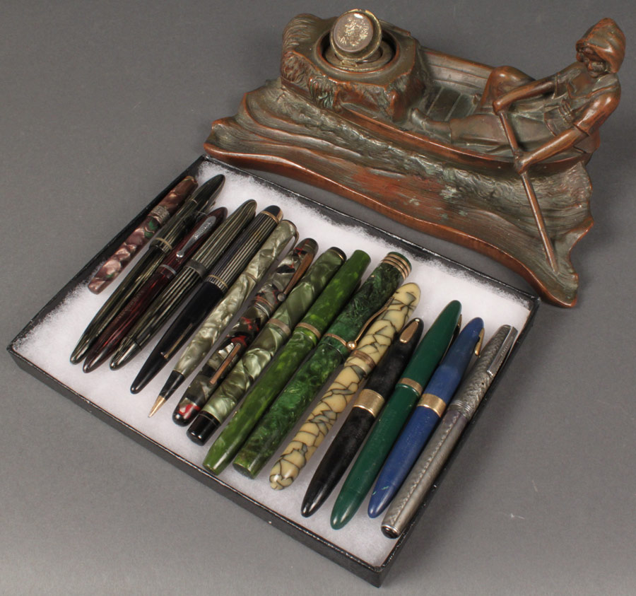 Lot 672: Bronze Inkwell & 15 Vintage Fountain Pens