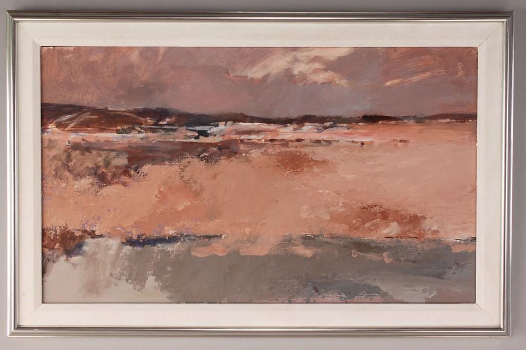 Lot 690:  Lot of 2 contemporary oil paintings: seascape & landscape