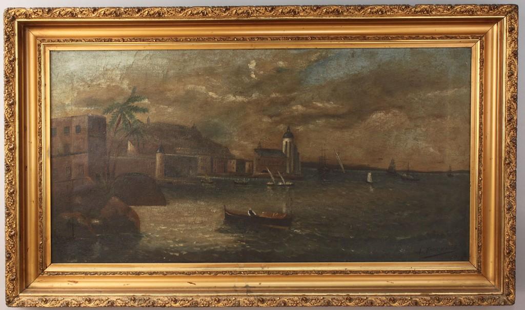 Lot 691: Panoramic Coastal painting, signed Fournaise