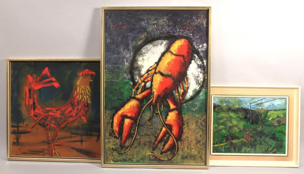 Lot 693: Lot of 3 paintings: rooster, lobster, landscape