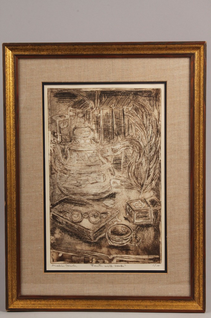 Lot 695: Lot of 2 Items: Etching and Wood Block