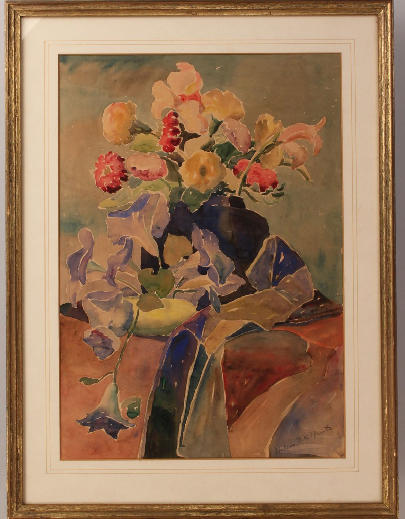 Lot 696: Watercolor still-life with flowers & 2 English etchings