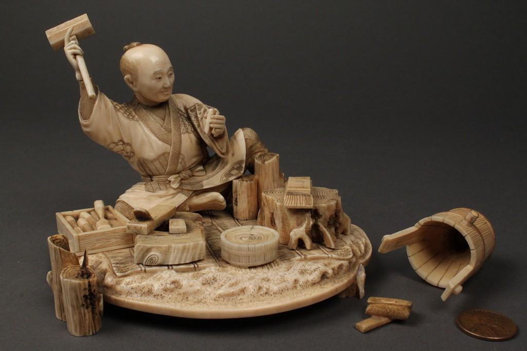 Lot 6: Japanese carved ivory figure, carpenter