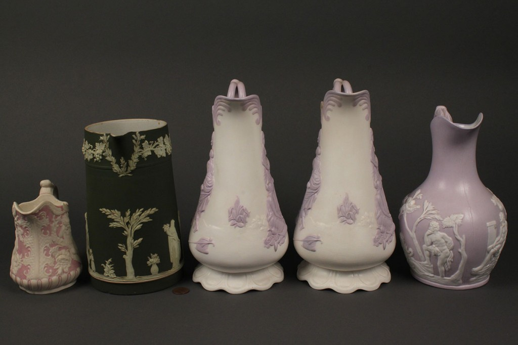 Lot 703: Lot of 5 pitchers inc. Wedgwood & 3 Alcock