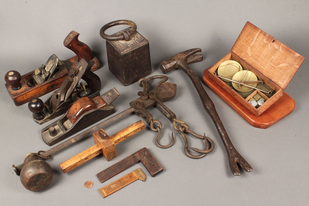 Lot 708: Lot of 11 Wooden & Iron Tools