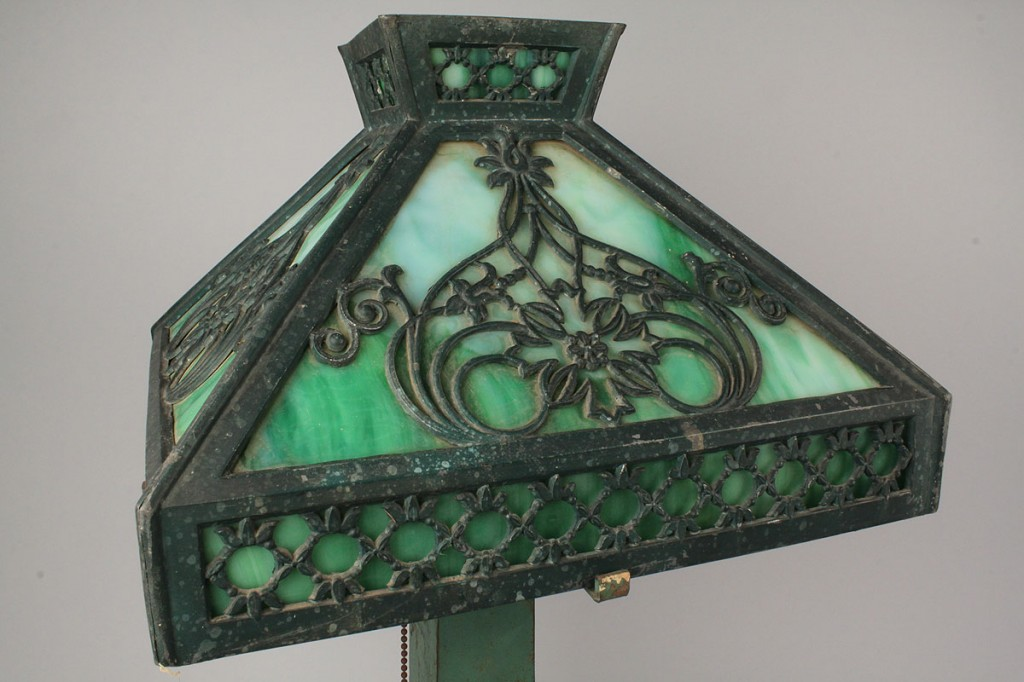 Lot 713: Mission Style Slag Glass Lamp & Shade