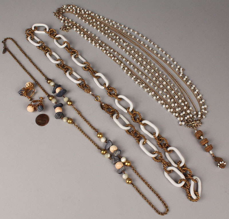 Lot 716: Three Miriam Haskell necklaces and one pr earrings