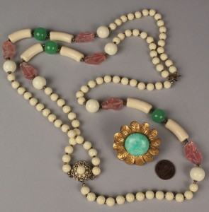 Lot 718: Miriam Haskell Necklace and Flower Brooch