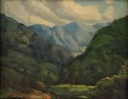 Lot 76: Louis Jones oil on board, Mountain Landscape