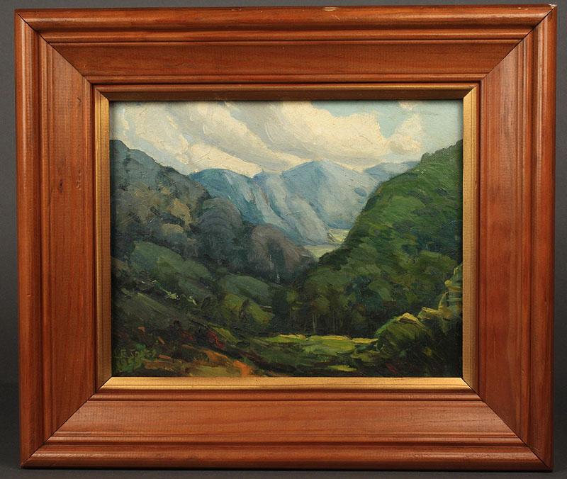 Lot 76: Louis Jones oil on board, Mountain Landscape