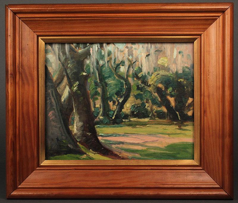 Lot 77: Louis Jones oil on board, Meadow Landscape