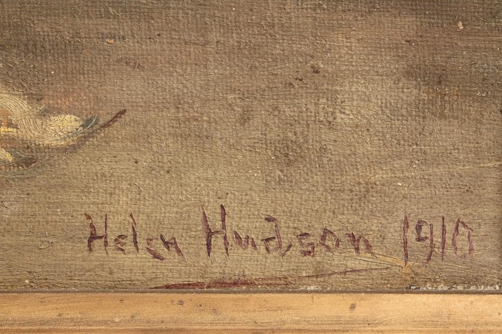 Lot 78: Helen Hudson Still Life of Corn and Pumpkin