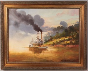 Lot 79: Robert Rucker Oil on Canvas, Steamboat at Sunset