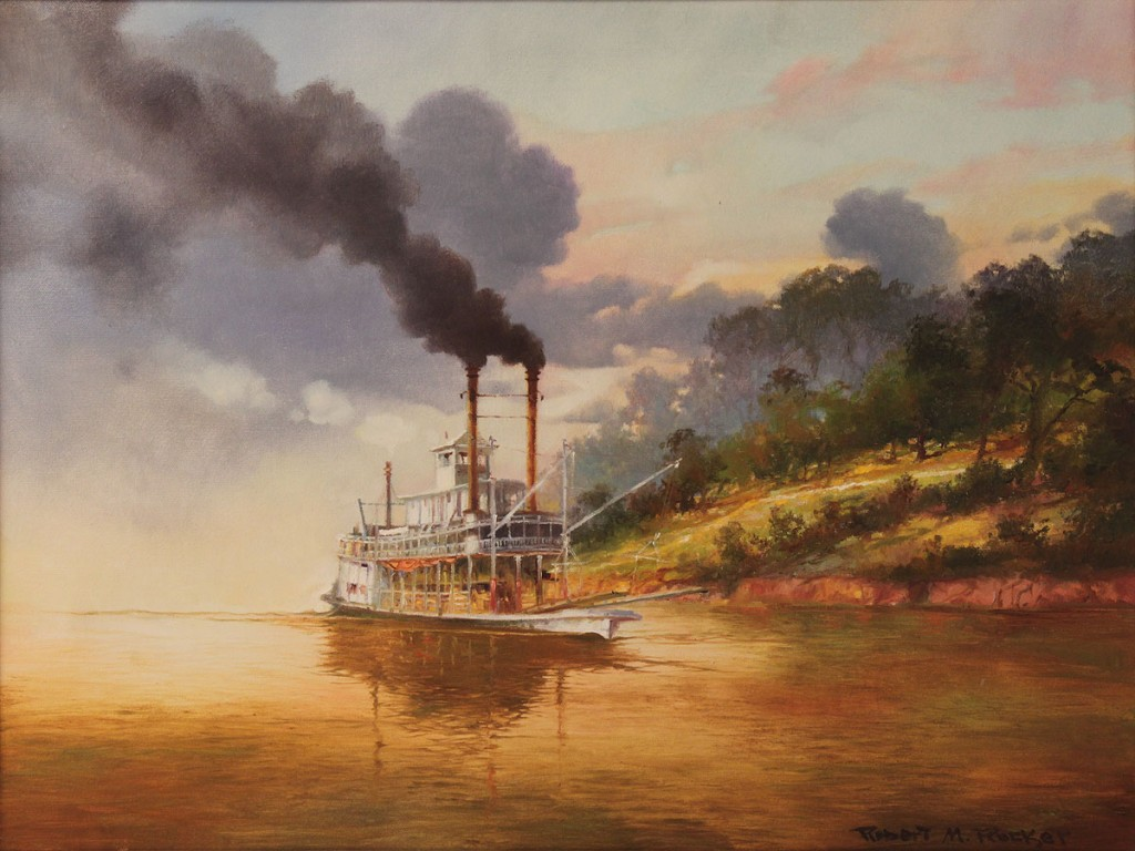 Lot 79: Robert Rucker Oil on Canvas, Steamboat at Sunset
