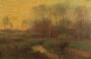 Lot 84: Alexander Van Laer, oil on canvas, Sunset Landscape