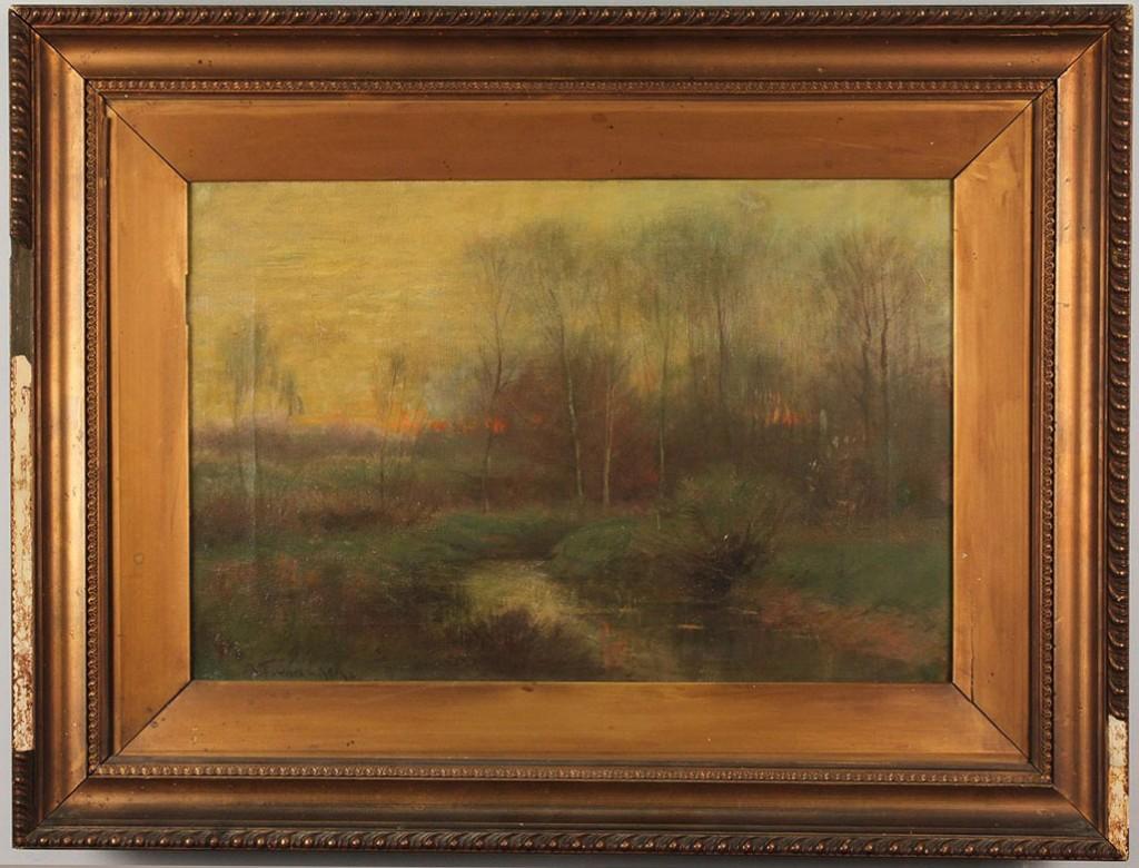 Lot 84: Alexander Van Laer, oil on canvas, Sunset Landscape