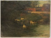 Lot 85: Alexander Van Laer, oil on canvas, Ducks in Stream