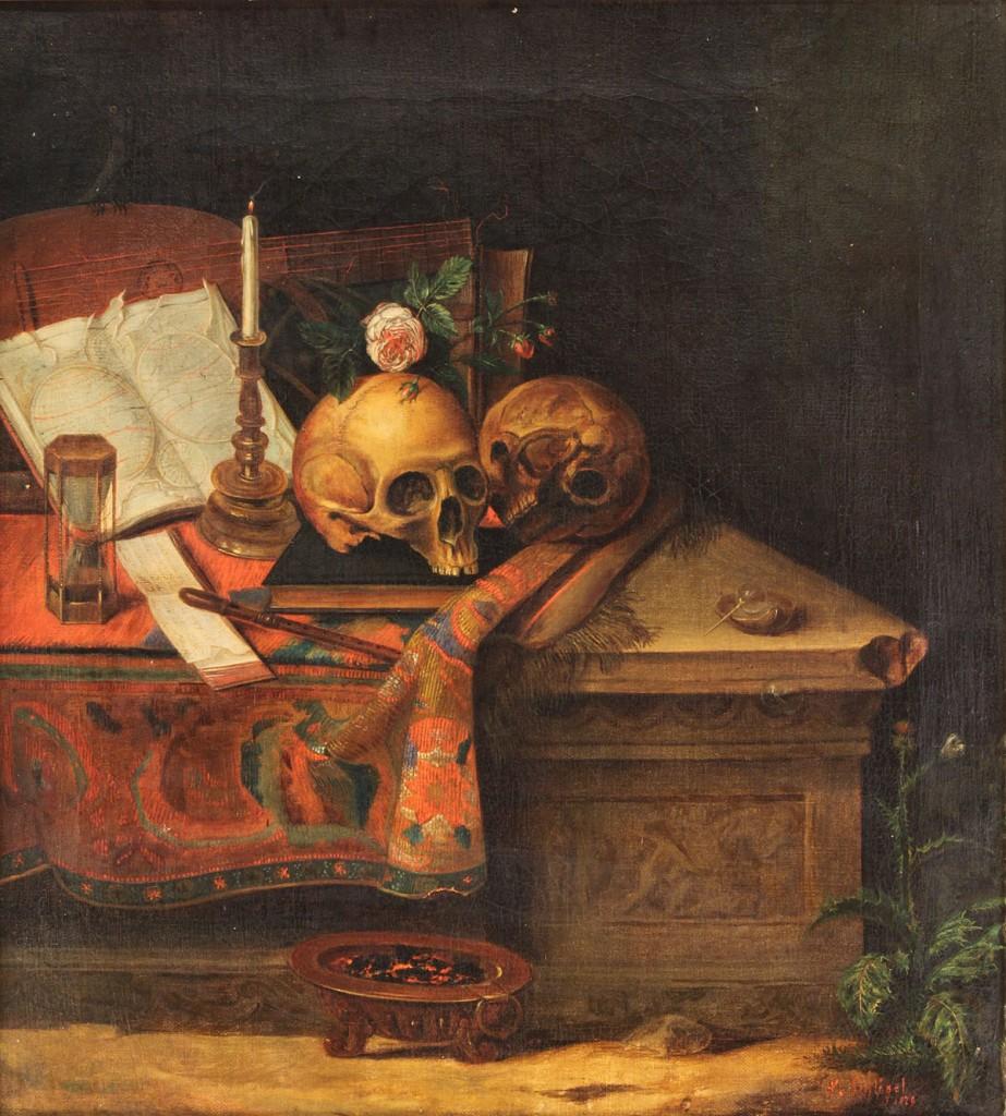 """Lot 90: F. A. Schlegel, Oil on Canvas, """"Momento Mori"""""""