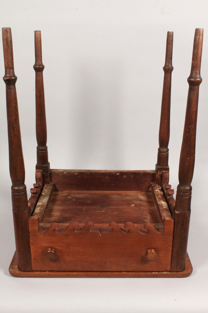 Lot 95: East TN One Drawer Table with elaborate shaped skirt