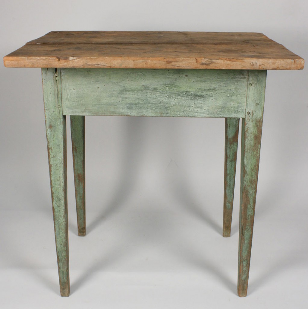 Lot 97: East TN Hepplewhite Table, Blue/Green Paint