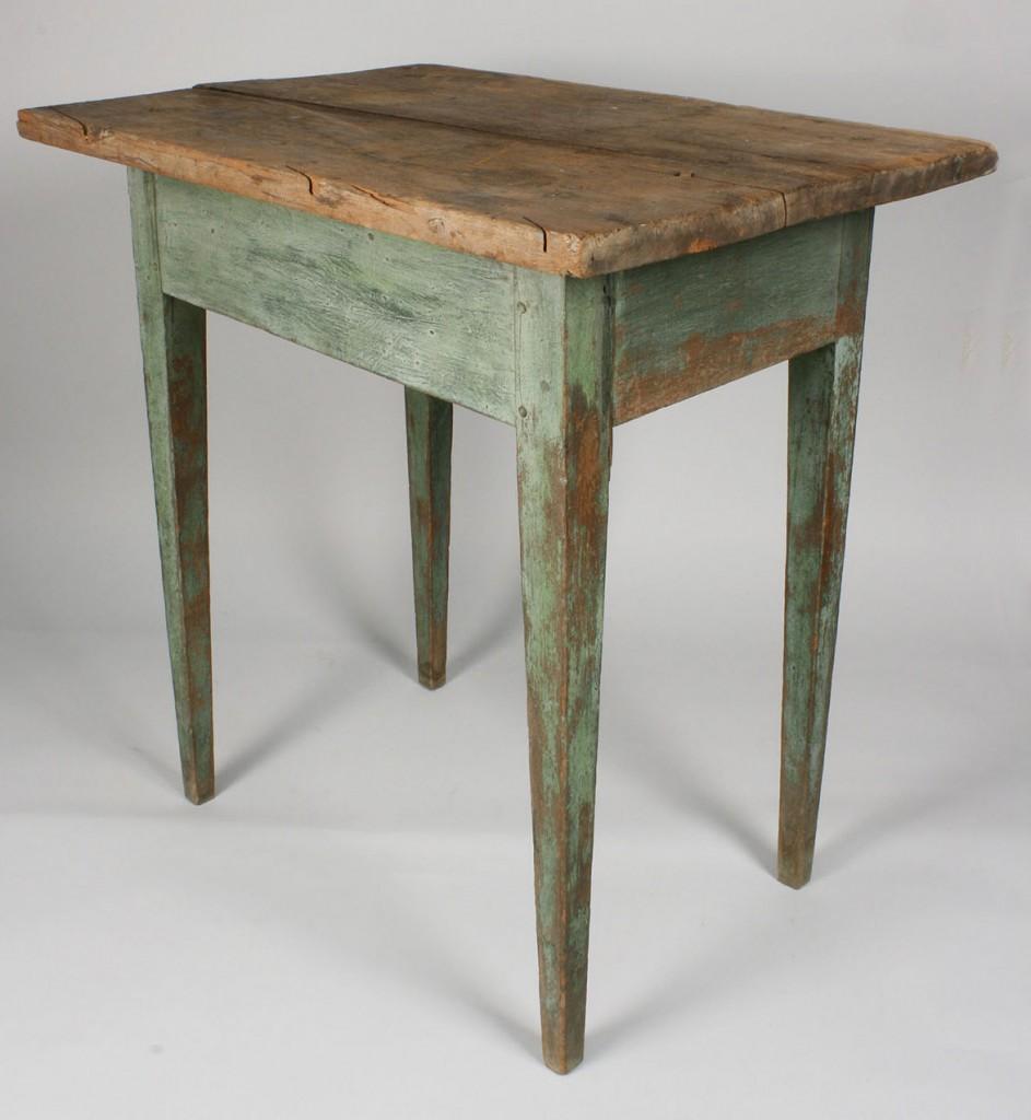 Lot 97: East TN Hepplewhite Table, Blue/Green Paint