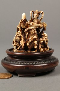 Lot 9: Signed netsuke of 7 figures, many musicians