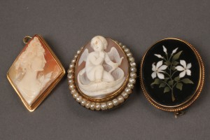 Lot 100: 2 antique cameos and a mosaic brooch