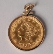 105: 1903 Liberty Head Quarter Eagle gold coin pendant