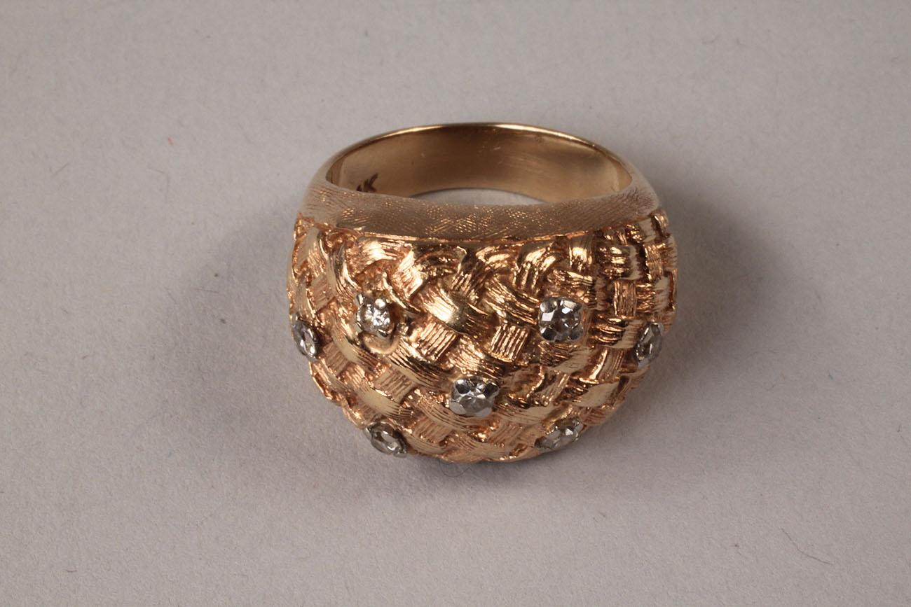 Lot 107 Ladies Diamond Amp Gold Basketweave Ring
