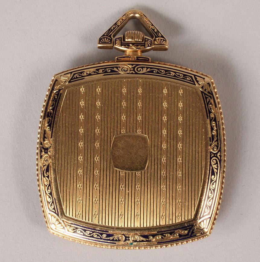 Lot 109: 18K Gold and Enamel Cartier Pendant Watch