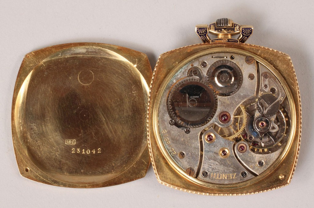Lot 109: 18K Gold and Enamel Cartier Pendant Watch