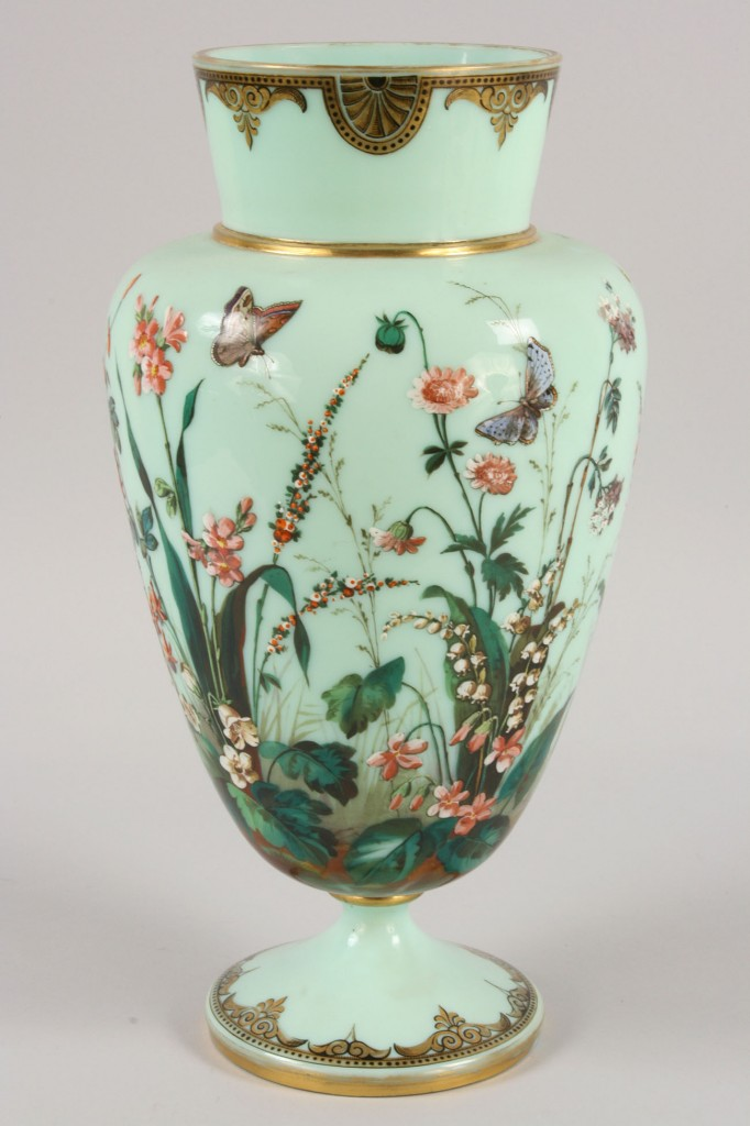 Lot 117: Large Bristol Glass Vase with enamel decorated bir