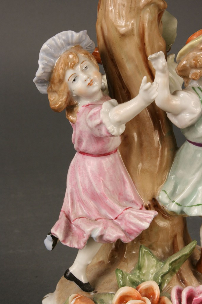 Lot 121: Porcelain Handpainted Lamp with Lithopane Shade