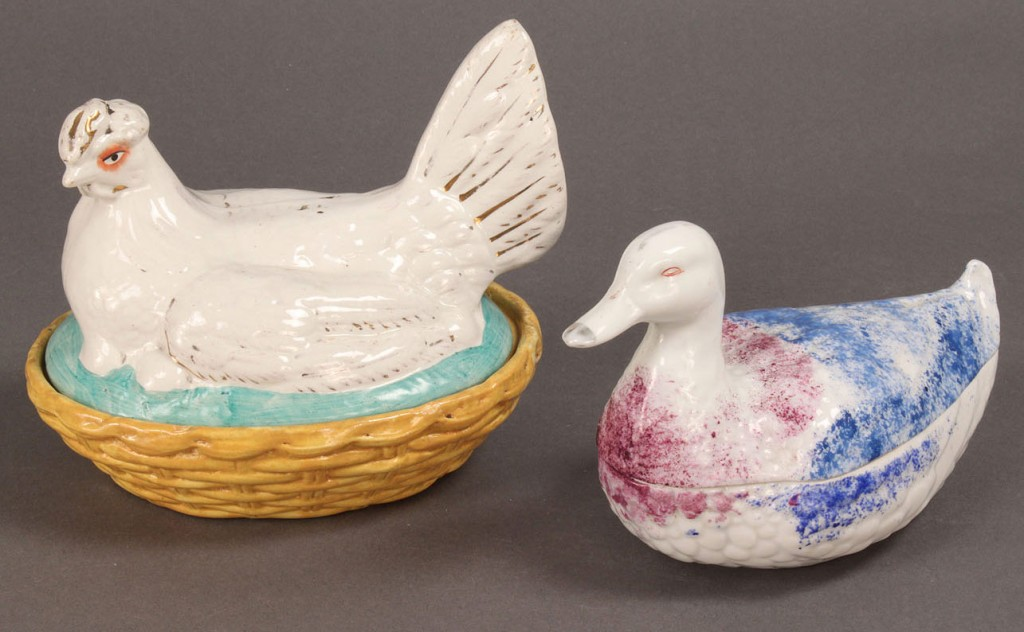 Lot 124: 19th Century Porcelain Duck and Hen on Nests, 2 pi