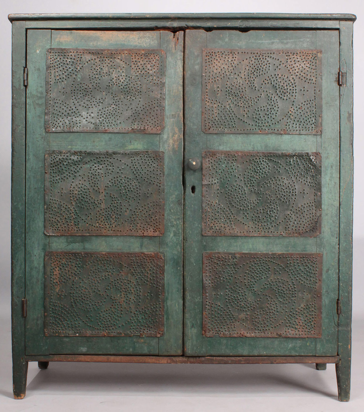 Lot 136: NC Green-painted Pie Safe - 136: NC Green-painted Pie Safe