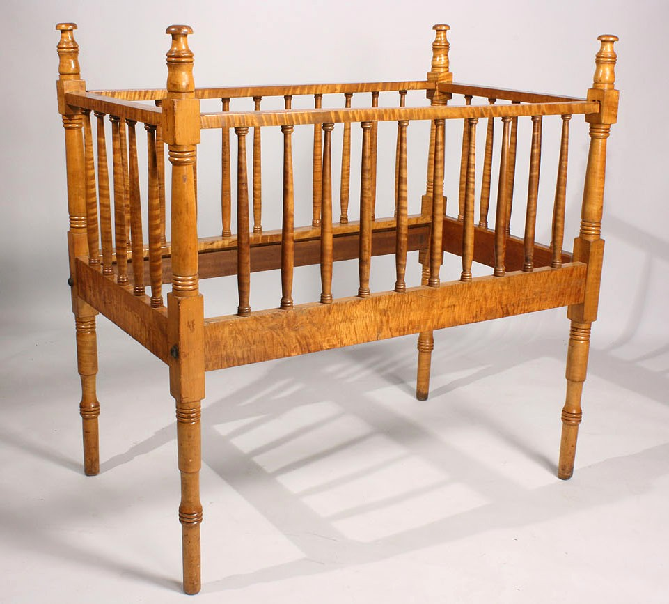 Lot 137: Tiger Maple Baby Crib, possibly Tennessee