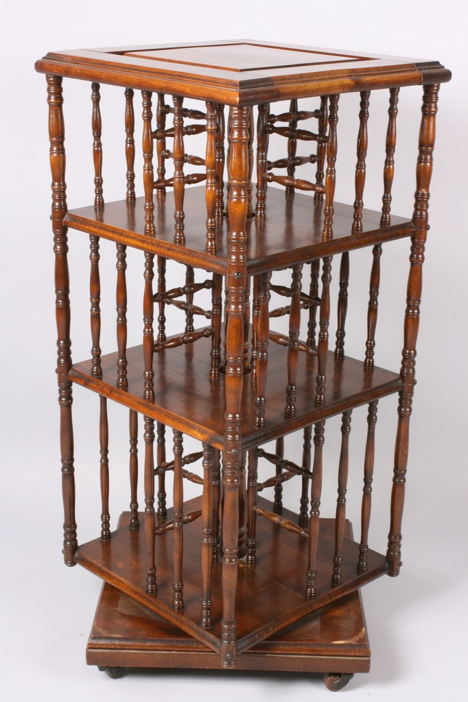 Lot 139: Victorian Spindle-Inset Revolving Bookcase