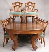 140: Walnut Renaissance Revival Dining Table & 14 chair