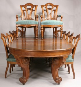 Lot 140: Walnut Renaissance Revival Dining Table & 14 chair