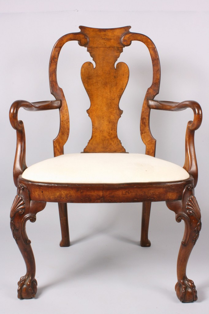 Lot 141: Queen Anne/Chippendale Transitional Style Armchair