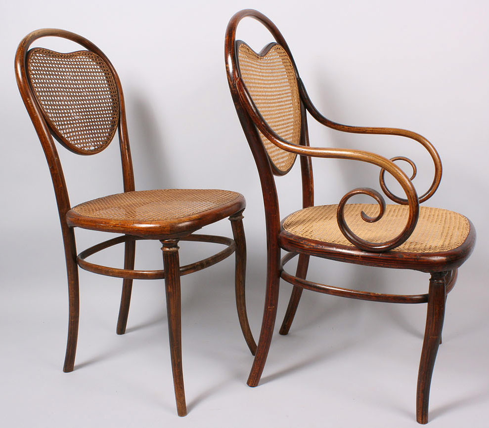 Lot 147: Thonet Bentwood Model #3 Armchair & side chair, 2