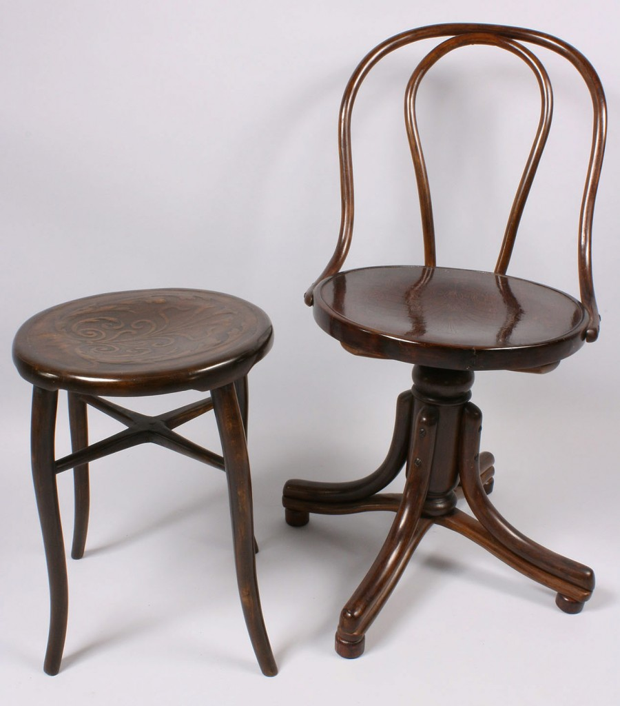 Lot 148: Thonet Bentwood Chair and Stool