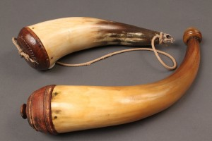 Lot 14: Two 19th c. Powder Horns