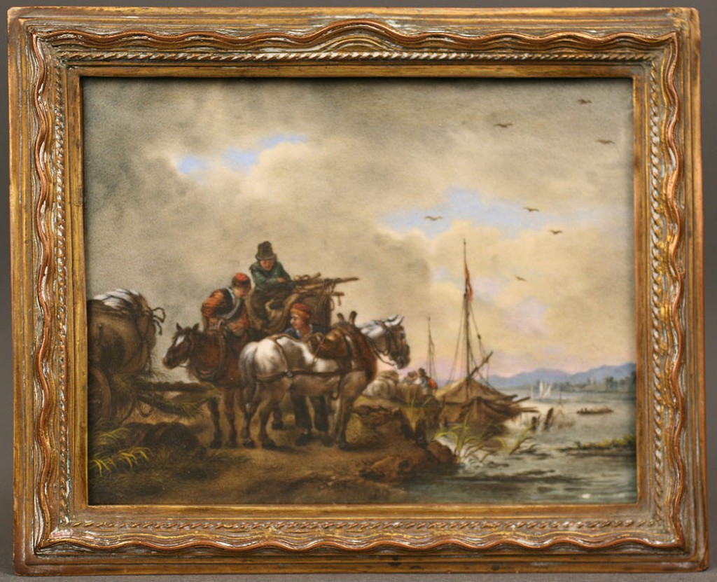 Lot 151: Continental Miniature Landscape on Ivory