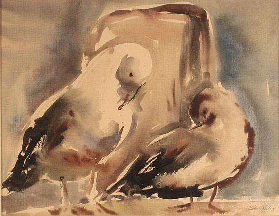 Lot 157: Edna Hibel Watercolor