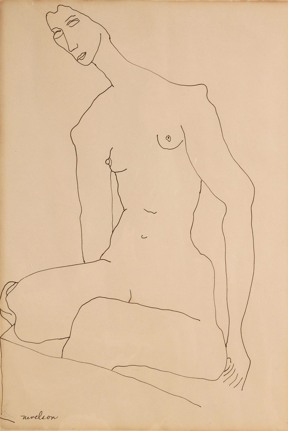Lot 161: Louise Nevelson Nude Drawing, Framed