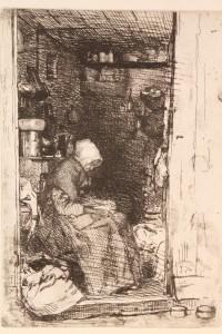 "Lot 165: James Whistler etching, ""La Vielle Aux Loques"""