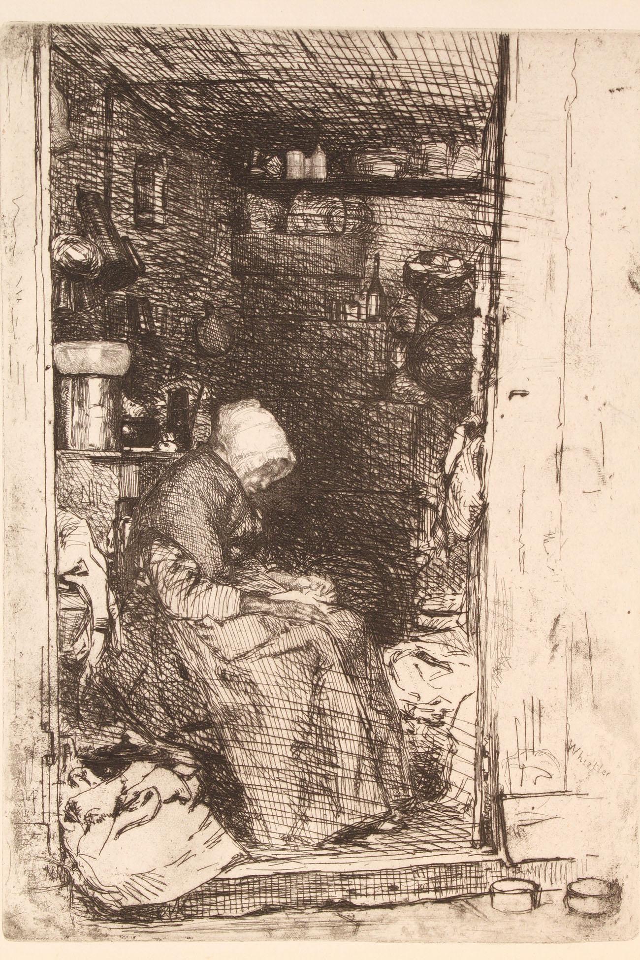"""Lot 165: James Whistler etching, """"La Vielle Aux Loques"""""""