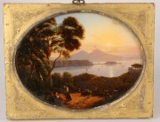 172: Continental School landscape, reverse painted on g