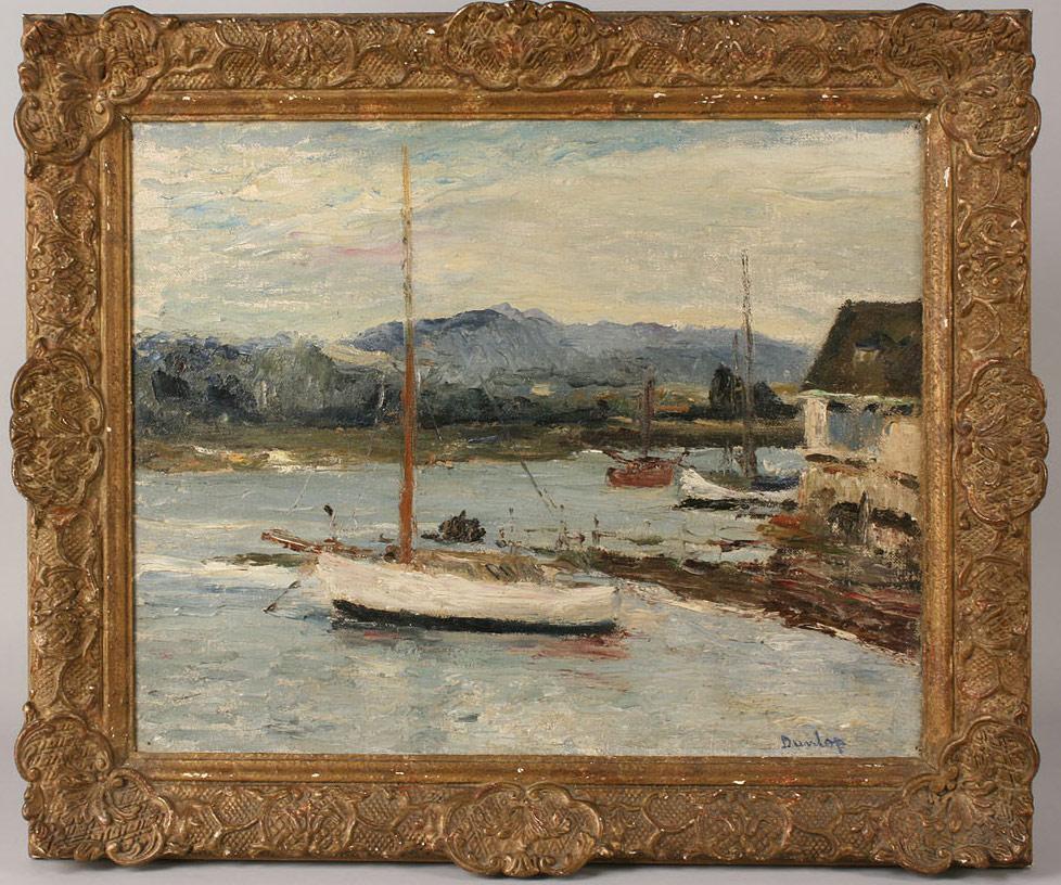 Lot 173: Ronald Dunlop harbor scene, The River at Bosham